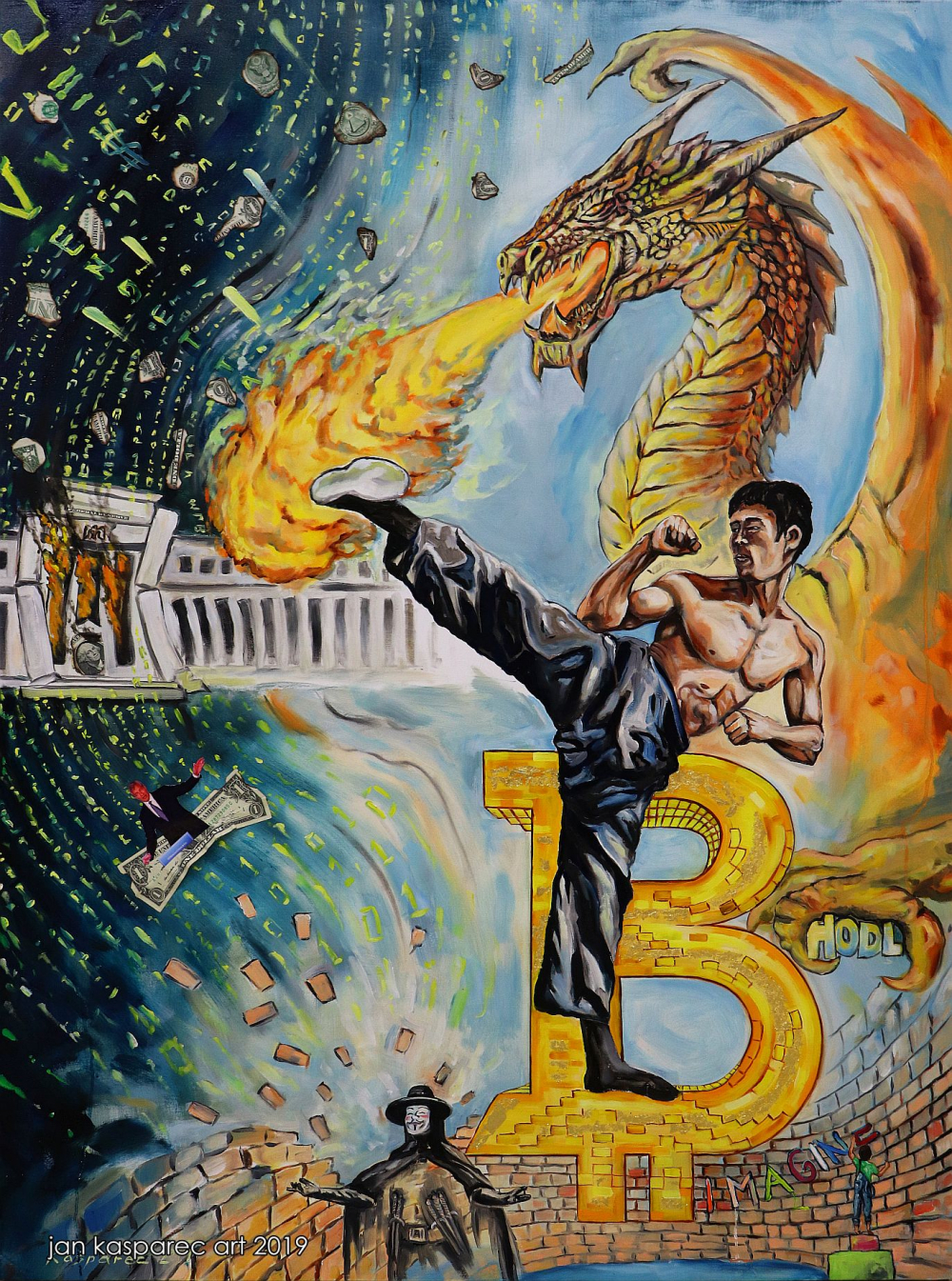 Oil painting - Bitcoin Bruce Lee (Oil ,24 karat gold and dollar bills on canvas)