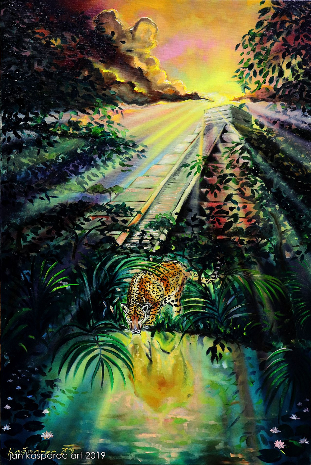 Oil painting - Jaguar and Mayas