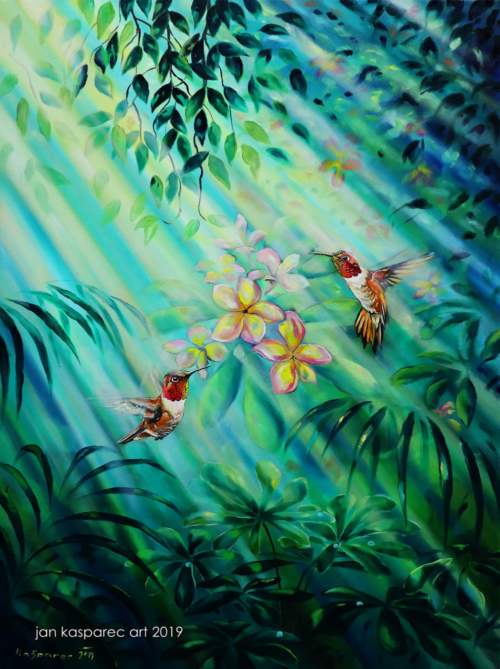Oil painting - Plumeria Hummingbirds