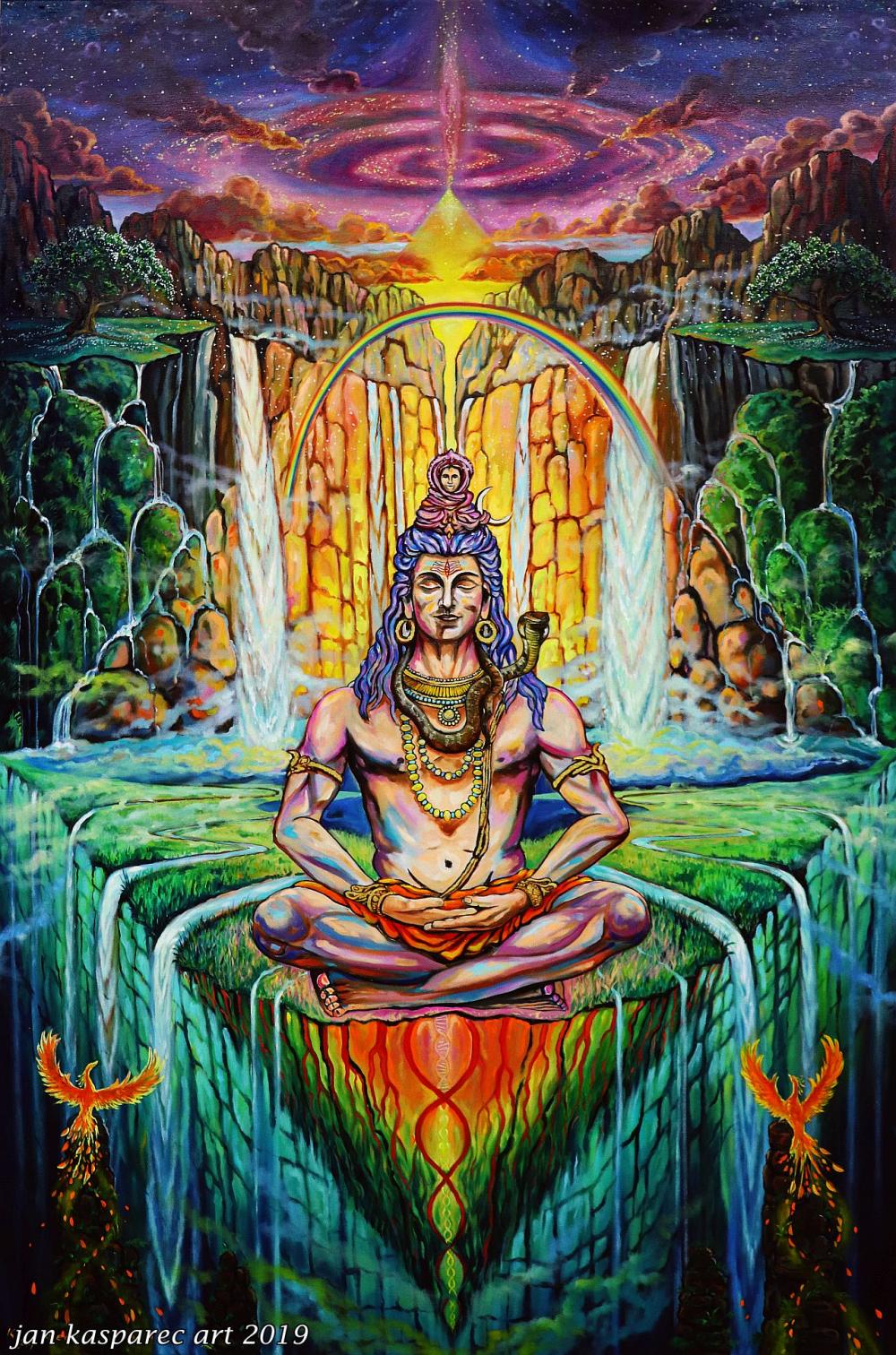 Oil painting - Shiva Phoenix