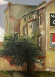 Dům s bilboardy, Prosecká - olejomalba, obraz