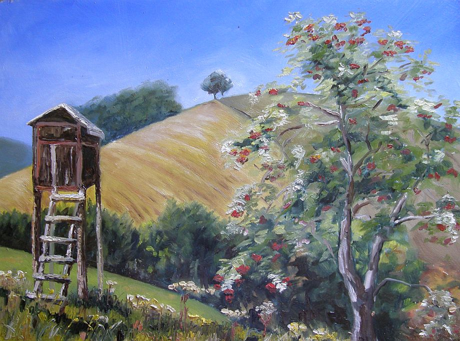 Oil painting - Hde at rowanberry tree