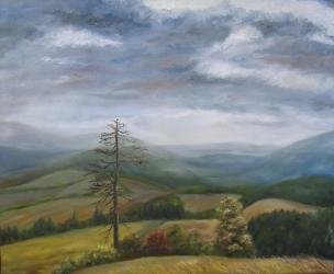 Windy morning at Adam - oil painting