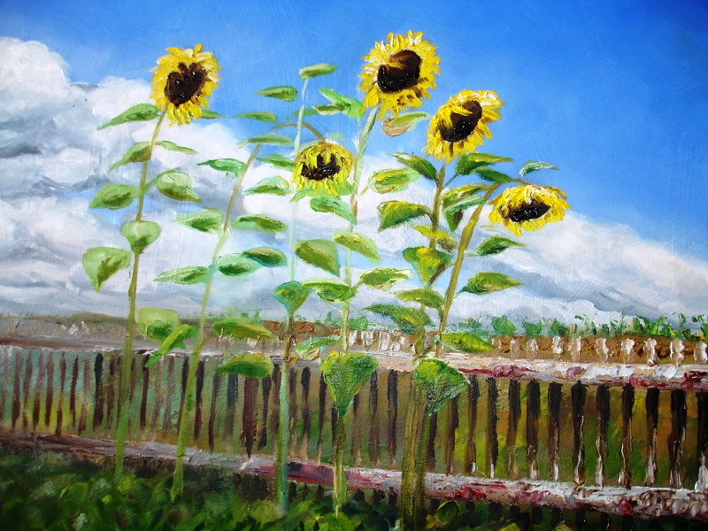 Oil painting - Sunflowers