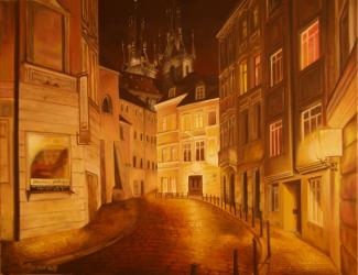 Small street, Prague - oil painting