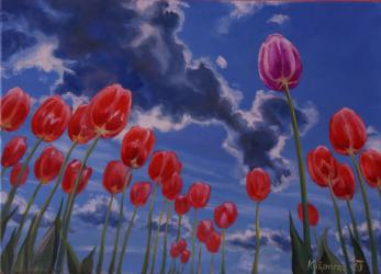 Tulips in the sky - oil painting